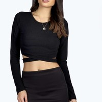 Lottie Textured Fabric Cross Strap Crop Top