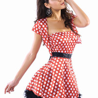 Red And White Polka Dots Tube  Lace Trimmed Dress Mouse Costume With Bolero