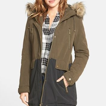 Women's DKNY Faux Fur Trim Two-Tone Parka,