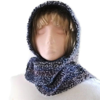 Scoodie, Crocheted Wool All In One Hood & Scarf Combo, Winter Fashion Accessories, Hoodie, Men, Women,