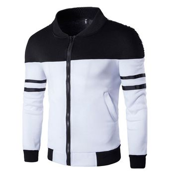 Men's Slim Fit Fashion Warm Up Stripped Sleeves Zip Up Jacket