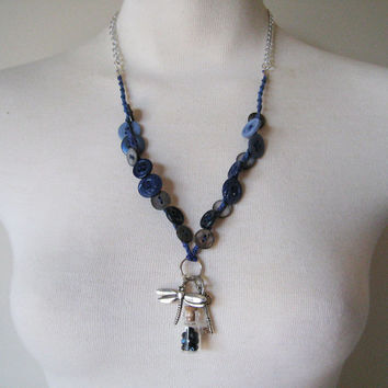 Extraordinary Button Necklace with Small Glass Bottle Pendant, Dragonfly, and Skeleton Key: Silver Toned and Variegated Blues