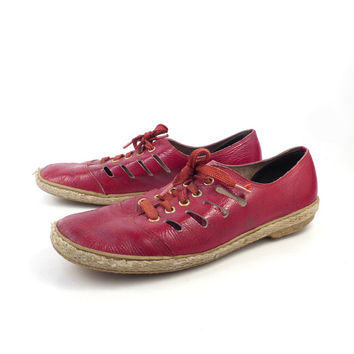 Red Keds Sneakers Vintage 1970s Grasshoppers by Patent Leather Cut out Champions Women's size 9