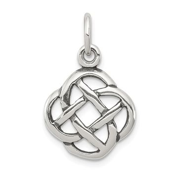 925 Sterling Silver Antiqued Celtic Knot Charm and Pendant