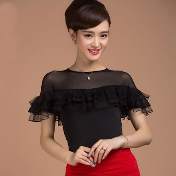 Fashion Ballroom modern elegant quality short-sleeve Latin dance clothes top for women/female/girl/lady, gauze performance wears