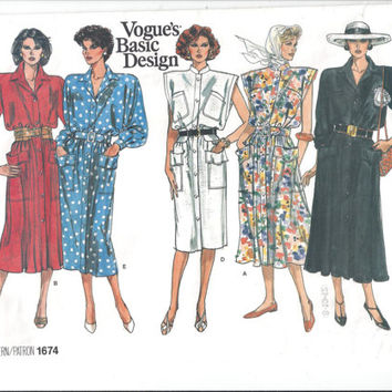 Vogue 1674 Pattern for Misses' Dress, From 1986, Size 8, 10, 12, Vogue Basic Design, FACTORY FOLDED & UNCUT, 1986 Fashion, Vintage Pattern