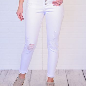 * Dear John 4 Button Distressed Jean : Optic White