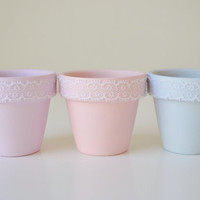 Trio of Pastel Miniature Terracotta Pots with Lace Trim - Rosy Pink, Lavender, Blue