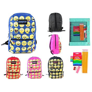 """Pre-Filled 17"""" Classic Emoji PureSport Backpack with Supply Kit Set - 12 Sets"""