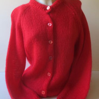 1060s Vintage Red Christmas Sweater / Full Fashioned / Ugly Jumper / Holiday Cardigan