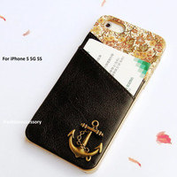 Anchor iPhone 5 case - credit card iPhone case- Floral iphone 5 case -Leather iPhone 5s case,credit card holder,iPhone 5 case cover Handmade