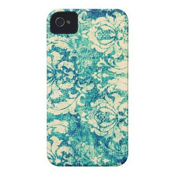 Vintage Blue and Green Damask Pattern Background Case-mate Iphone 4 Case from Zazzle.com