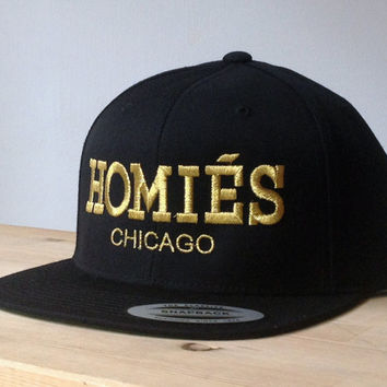Homies Metallic Gold Snapback Hat with Custom Embroidered Logo. Made to  order quality snap back cd3db2742c0