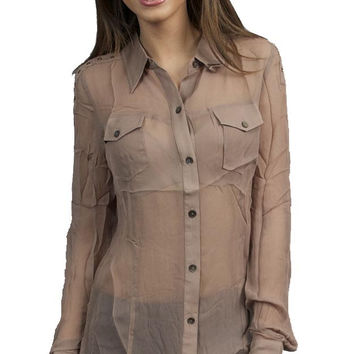 Aryn K. Quarter Sleeved Button Down Long Sheer Collared Tunic Shirt in Mocha