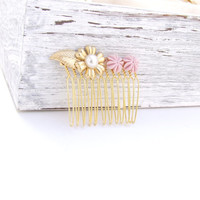 Pearl gold hair comb,Floral hair comb,Gold leaf hair comb, Wedding Hair Accessories, Golden Hair Comb,Pink and gold comb, Wedding hair comb
