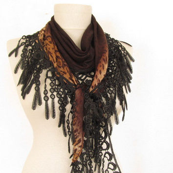 Christmas gift -Leopard Scarf-  Lace Scarf..woman scarf