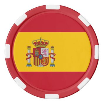 Poker chips with Flag of Spain