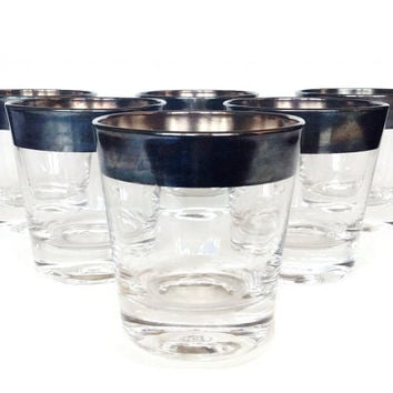 Whiskey Glasses, Sterling Silver Rim, Dorothy Thorpe, Mid Century Bar Glasses