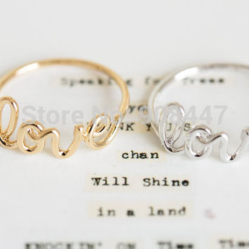 2016 Hot Fashion Exquisite Alloy Love Letters Rings Fashion Ring Friendship Ring Cute Rings R018