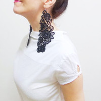 Lace earrings, Bouquet, Steampunk Jewelry, Black Bold Lace Fashion Models Jewelry, Rocker Jewelry