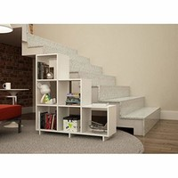 Sophisticated Cascavel Stair Cubby with 6 Cube Shelves in White