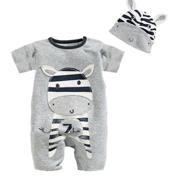 Baby Rompers Summer Cartoon zebra Baby Clothes Cotton Short Sleeve Kids Jumpsuits Boys Girls Rompers Outfits Baby Girls Clothes