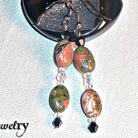 "Earrings: Unakite , Swarovski Elements and Czech beads ""Gia"""