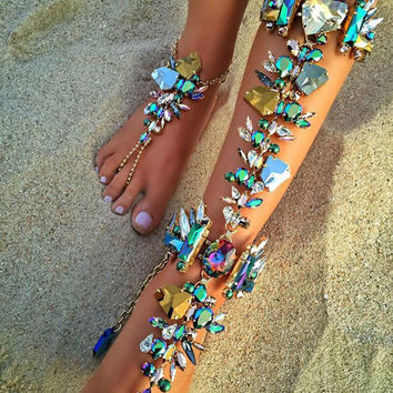 Hot New Fashion Ankle Bracelet Wedding Barefoot Sandals Beach Foot Jewelry Sexy Pie Leg Chain Female Boho Crystal Anklet