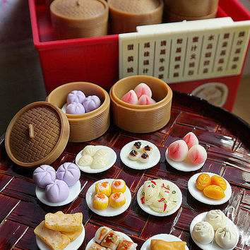 1:6 Dim Sum Chinese Food, Yum Cha, Kueh, Ha Gao, Pau, Pao, Siew mai, Asia, Asian High tea Pastry, Bamboo Tray Cart Plate, Blythe Barbie Doll