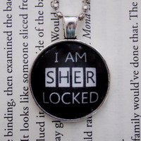 Sherlock Holmes Necklace. I Am Sherlocked. 18 Inch Ball Chain.