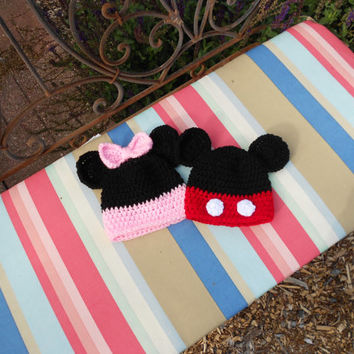 Mickey and Minnie Mouse Crochet Hats, All Sizes,