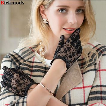 Gloves Special Offer New 2017 Women's Gloves Leather Sheepskin Embroidery Lace Bows Short Style Thin Spring Summer Driving