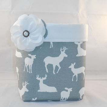 Gray and White Deer Themed Fabric Basket With Detachable Fabric Flower Pin For Storage Or Gift Giving