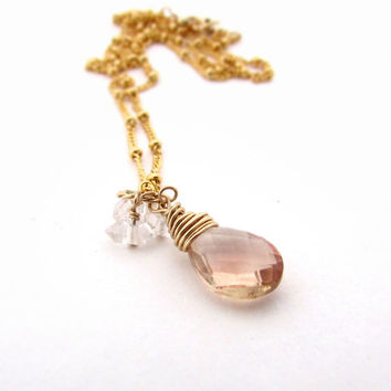 Oregon sunstone necklace, herkimer diamonds, peach sunstone pendant, gold filled gemstone pendant, Oregon sunstone jewelry, sun and stars