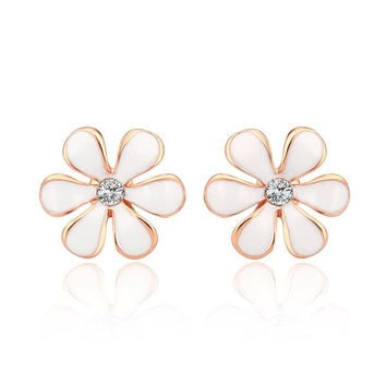 18K White Gold Onyx Floral Petal Stud Earrings Made with Swarovksi Elements