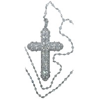 Important Large Antique Diamond Platinum Cross and Chain