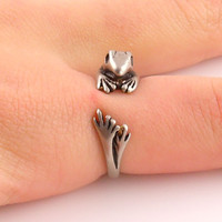 Animal Wrap Ring - Frog - White Bronze - Adjustable Ring - keja jewelry