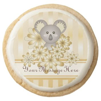 Baby Shower or Kids Birthday Favors Gold Effect Round Shortbread Cookie