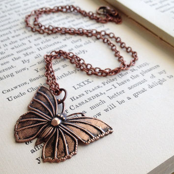 Copper Butterfly Charm Necklace