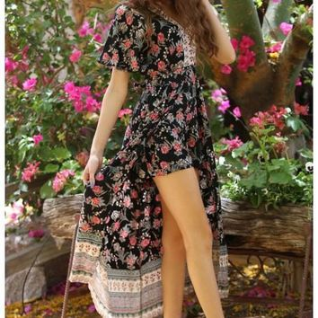 2018 Spring Women's Black Floral Maxi Romper With Surplus the New Misses Line