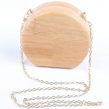 Fashionable Purse Vintage Handbags Small Clutch Purse Chain Messenger Bag Wooden Makeup Bag