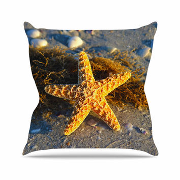 "Philip Brown ""Starfish"" Coral Gold Outdoor Throw Pillow"