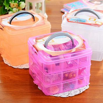 Eco-Friendly Makeup Organizer Three Removable Transparent Plastic Storage Box Grid Cosmetic Hair Accessories Multi-compartment