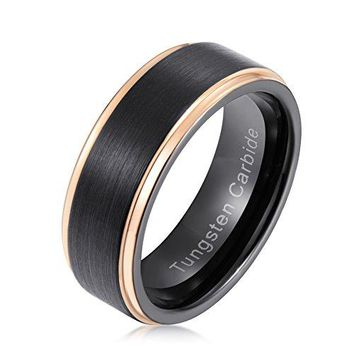 8mm Black Plated Rose Gold Step Finished Edge Tungsten Carbide Ring Brushed Center
