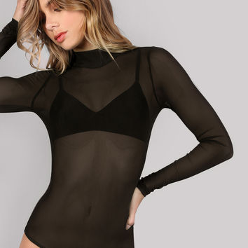 Mock Neck Long Sleeve Mesh Bodysuit BLACK | MakeMeChic.COM