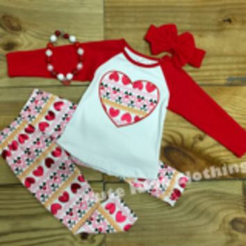 Valentine Red Metallic Heart Outfit