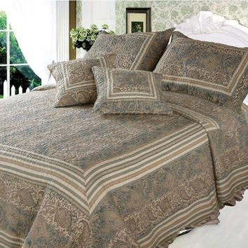 Paisley Paradise Warm Olive Tan Tones Bohemian Reversible Striped Cotton Quilted Bedspread Set - Twin - 3-Pieces (DXJ101873)