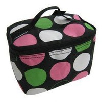 Cute! Cosmetic Makeup Bag Case Retro Polkadots Green Pink Small Polka Dot