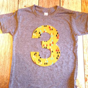 Yellow arrow birthday shirt Any NUMBER Birthday tShirt Birthday Shirt kids 1 2 3 4 5 6 7 8 9 triblend grey camp arrow feather teepee