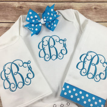 Monogram Initial Embroidered Gown, Monogram Baby Gown Beanie Hat, Personalized Take Home Outfit,  Newborn Girl Gift Set, Personalized Infant